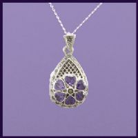 Tear Drop Locket with Marcasite and  Purple CZ